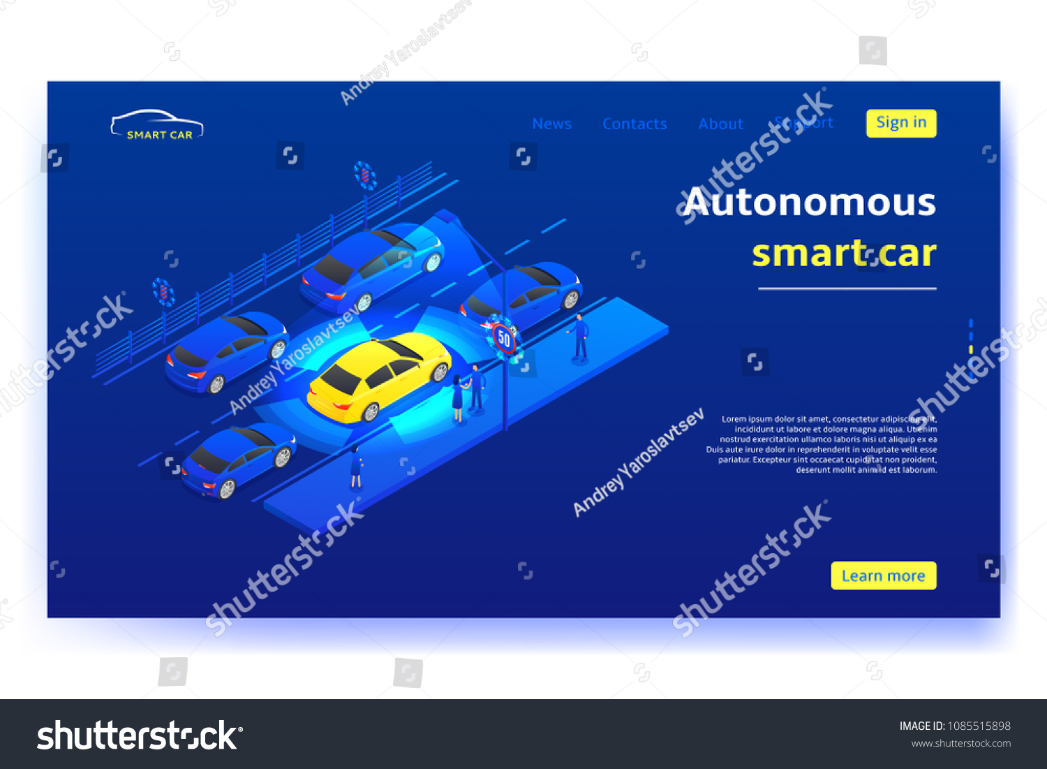 hight resolution of concept banner with autonomous smart car smart car moves on road and scans signs and