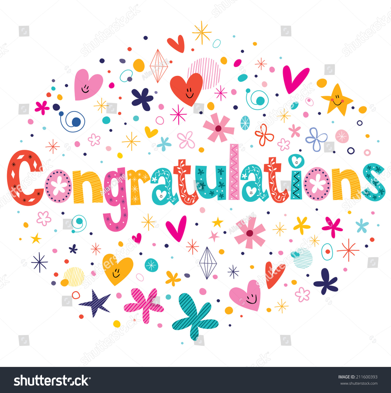 Congratulations Typography Lettering Decorative Text Card Design Stock Vector Illustration 211600393 : Shutterstock