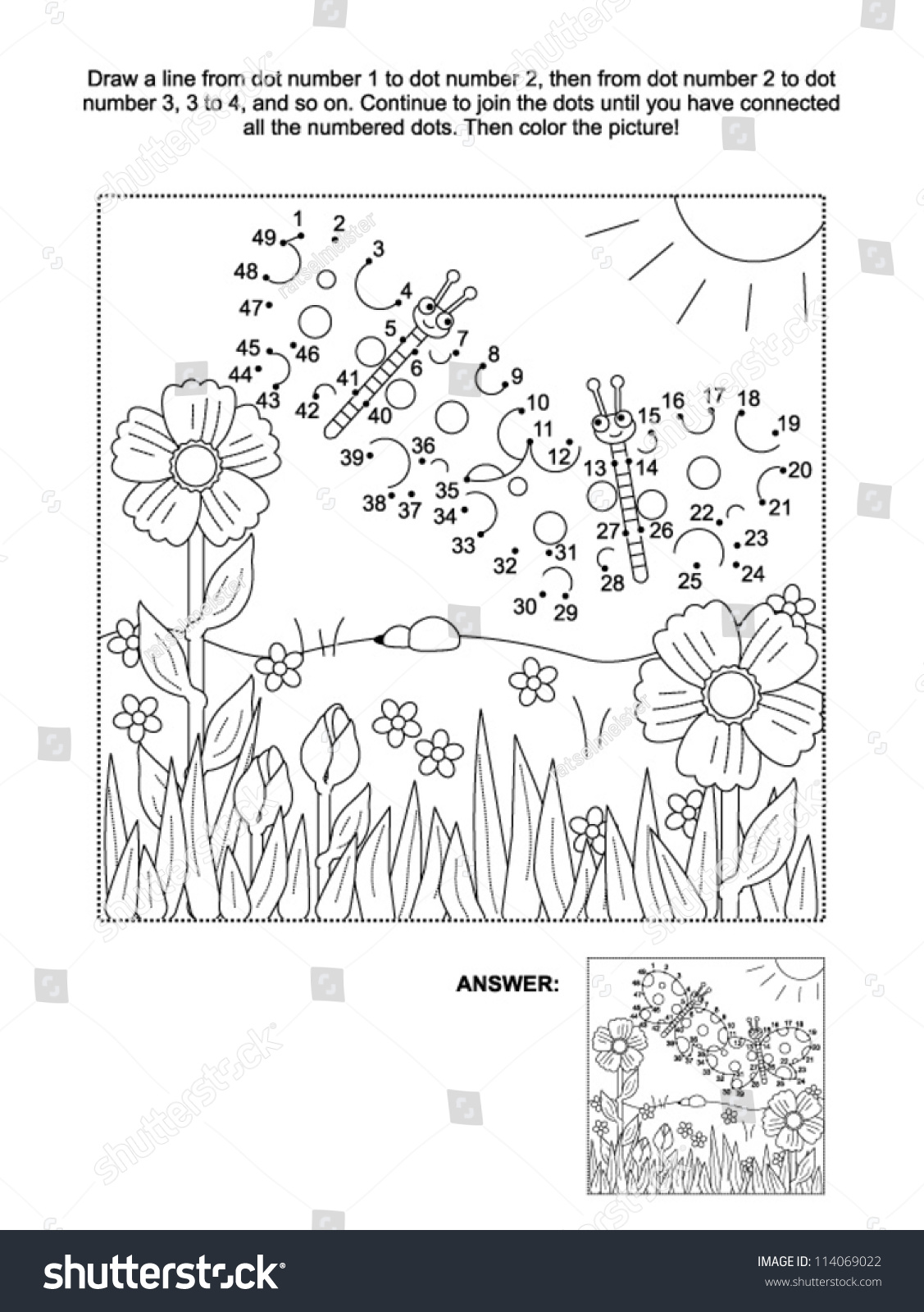 Connect Dots Picture Puzzle Coloring Page Stock Vector