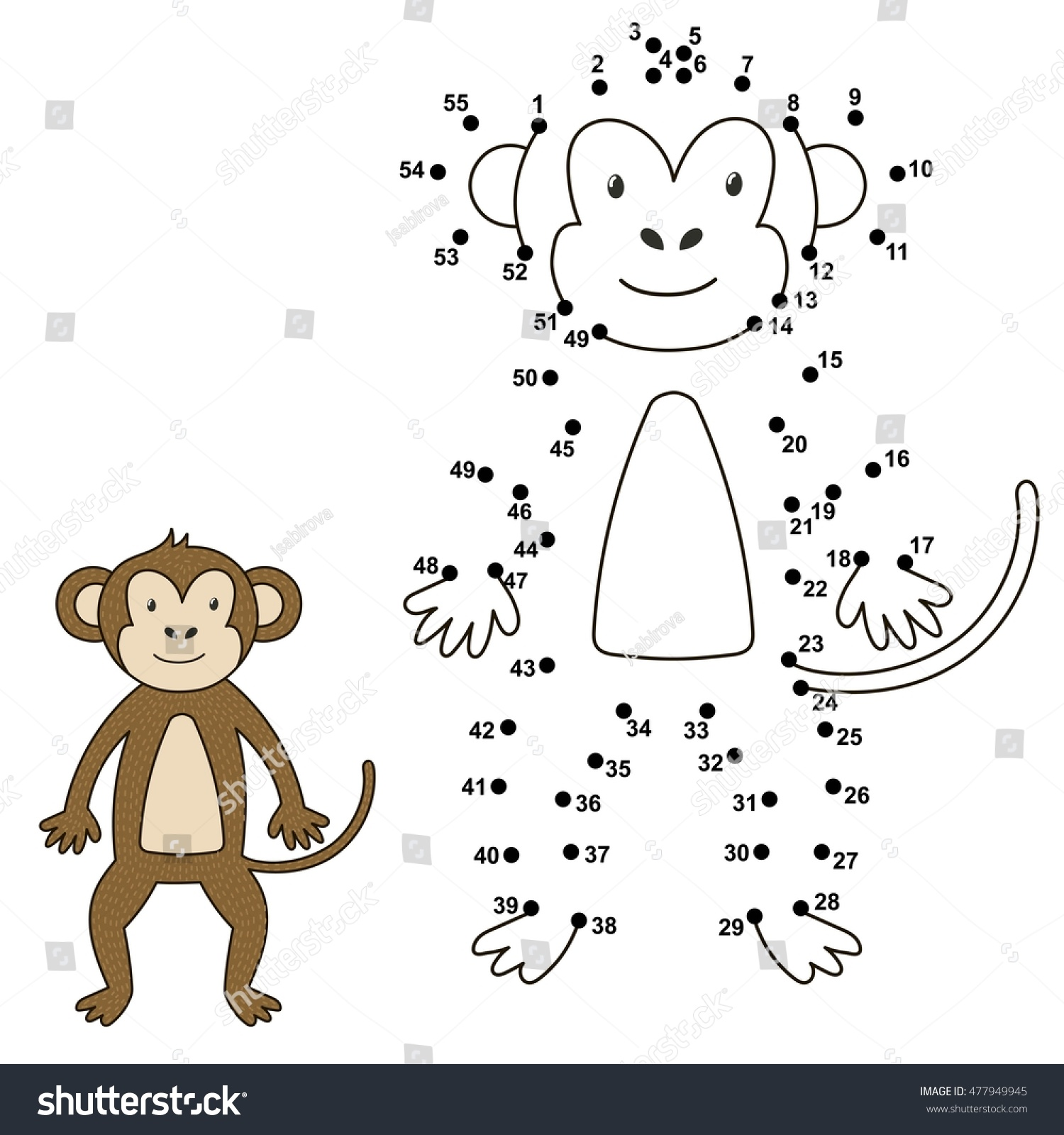 Connect Dots Draw Cute Monkey Color Stock Vector
