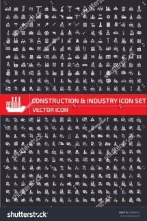 Construction Industry Icon Setclean Vector Stock