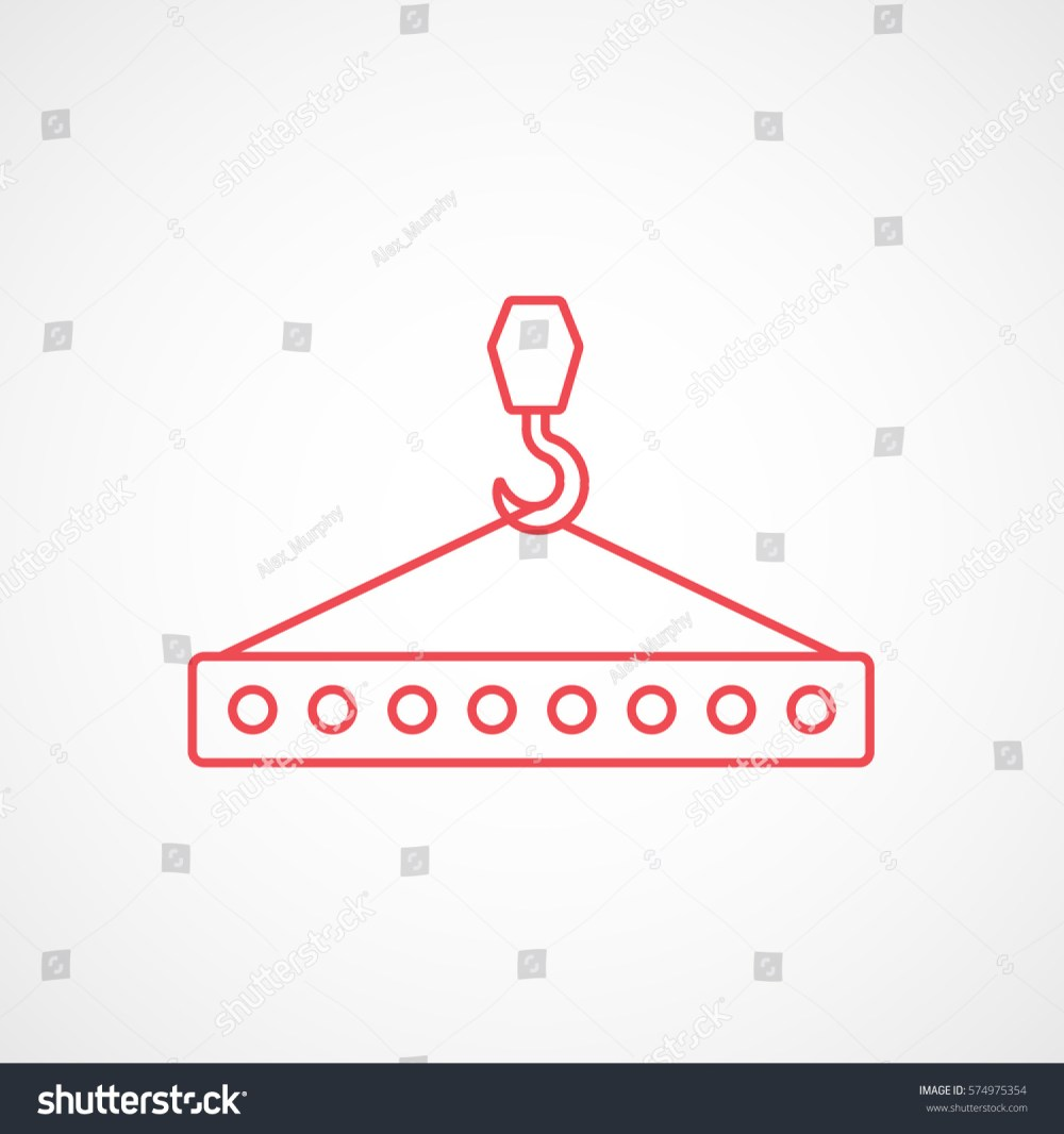 medium resolution of construction tool crane hook with block red line icon on white background