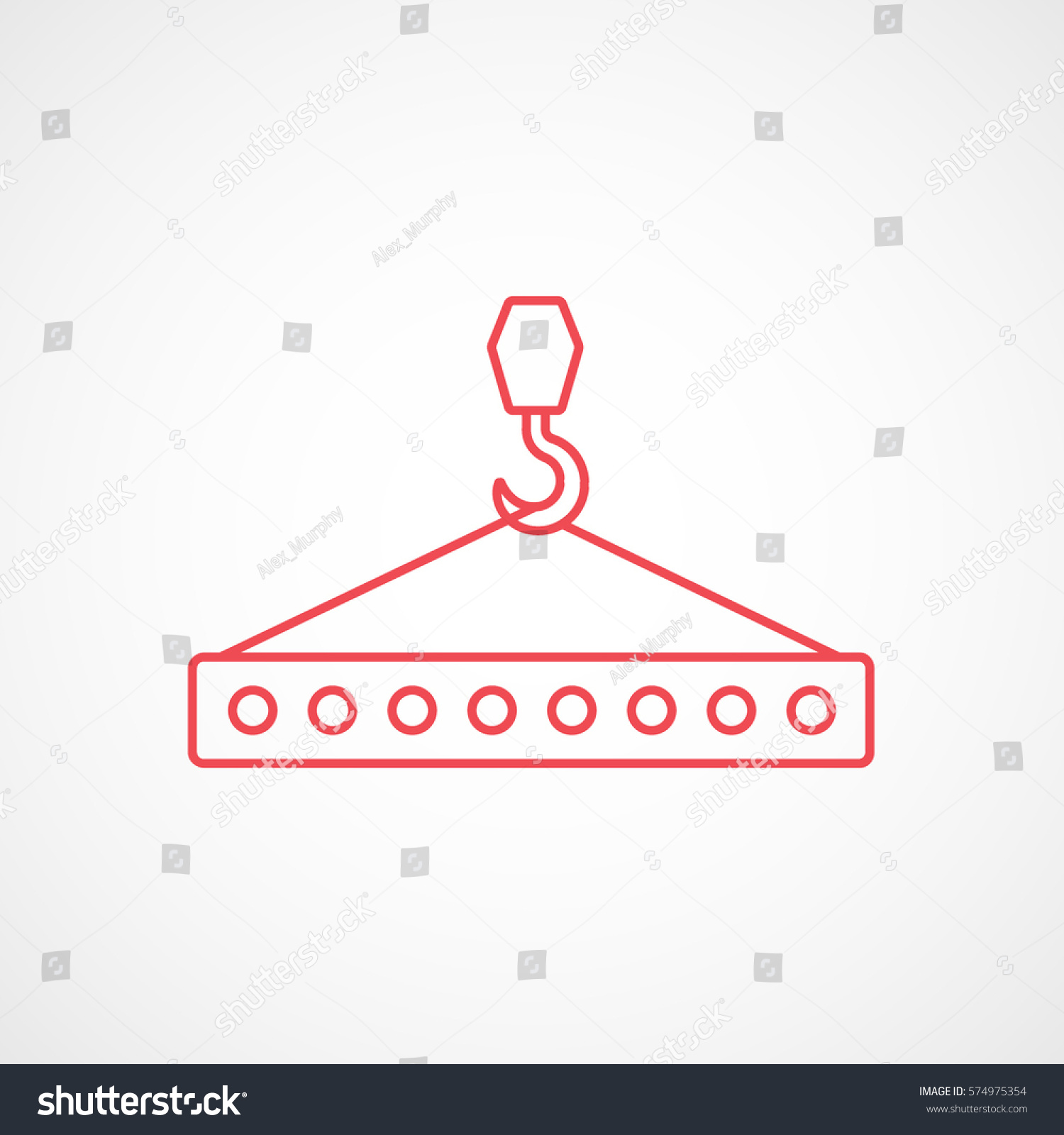 hight resolution of construction tool crane hook with block red line icon on white background