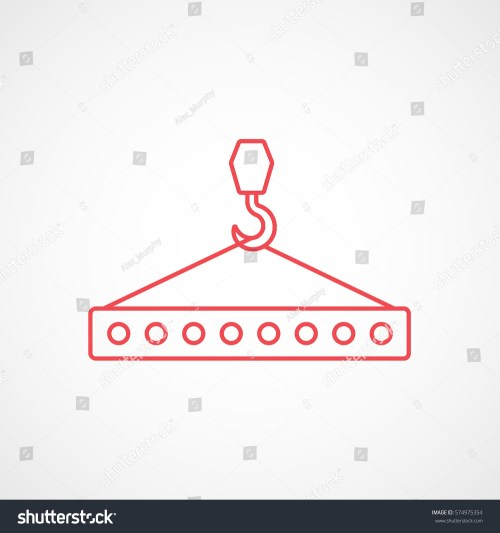 small resolution of construction tool crane hook with block red line icon on white background
