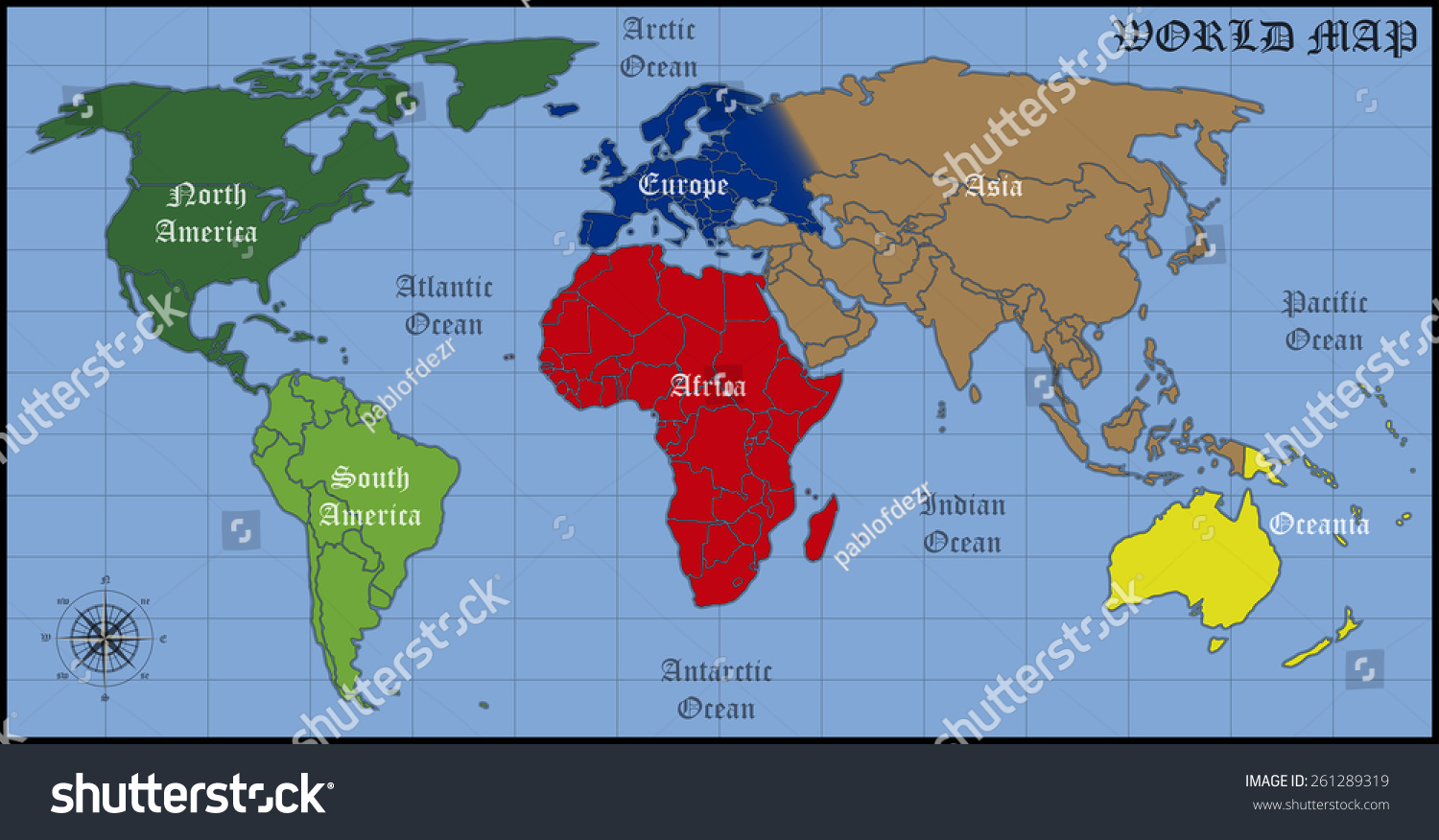 Map Of Continents And Oceans Of The World