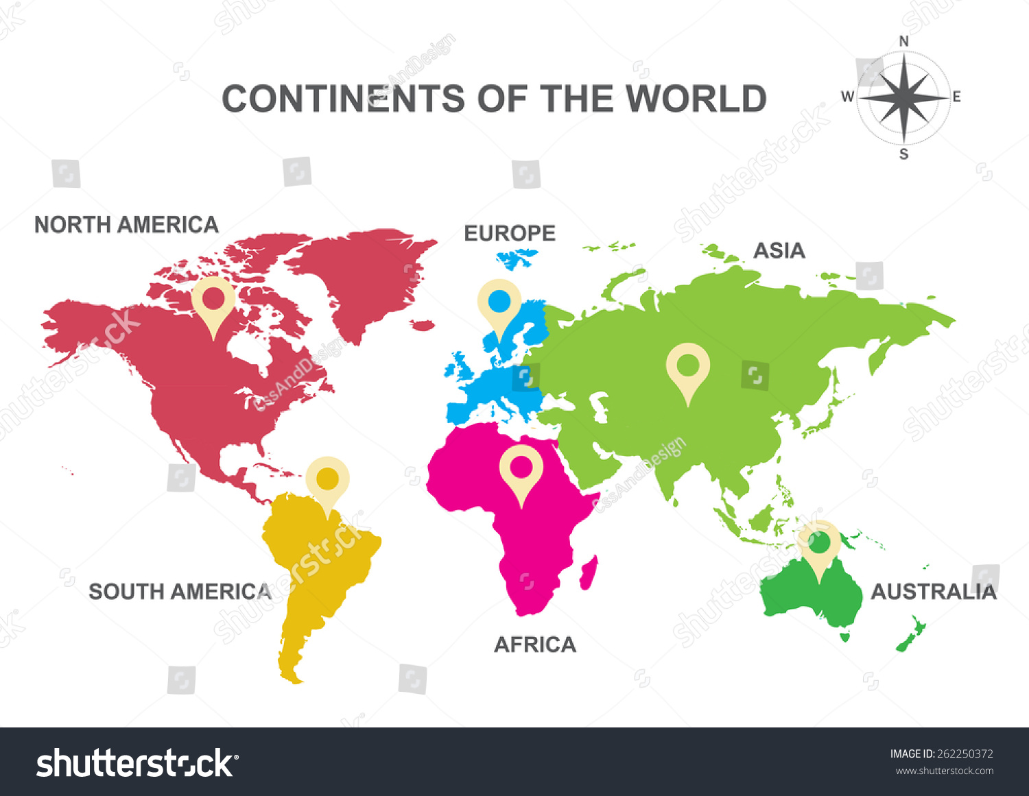 Continents World Continents Asia Europe Australia Stock