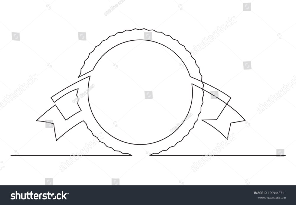 medium resolution of continuous line drawing of circle and ribbon label