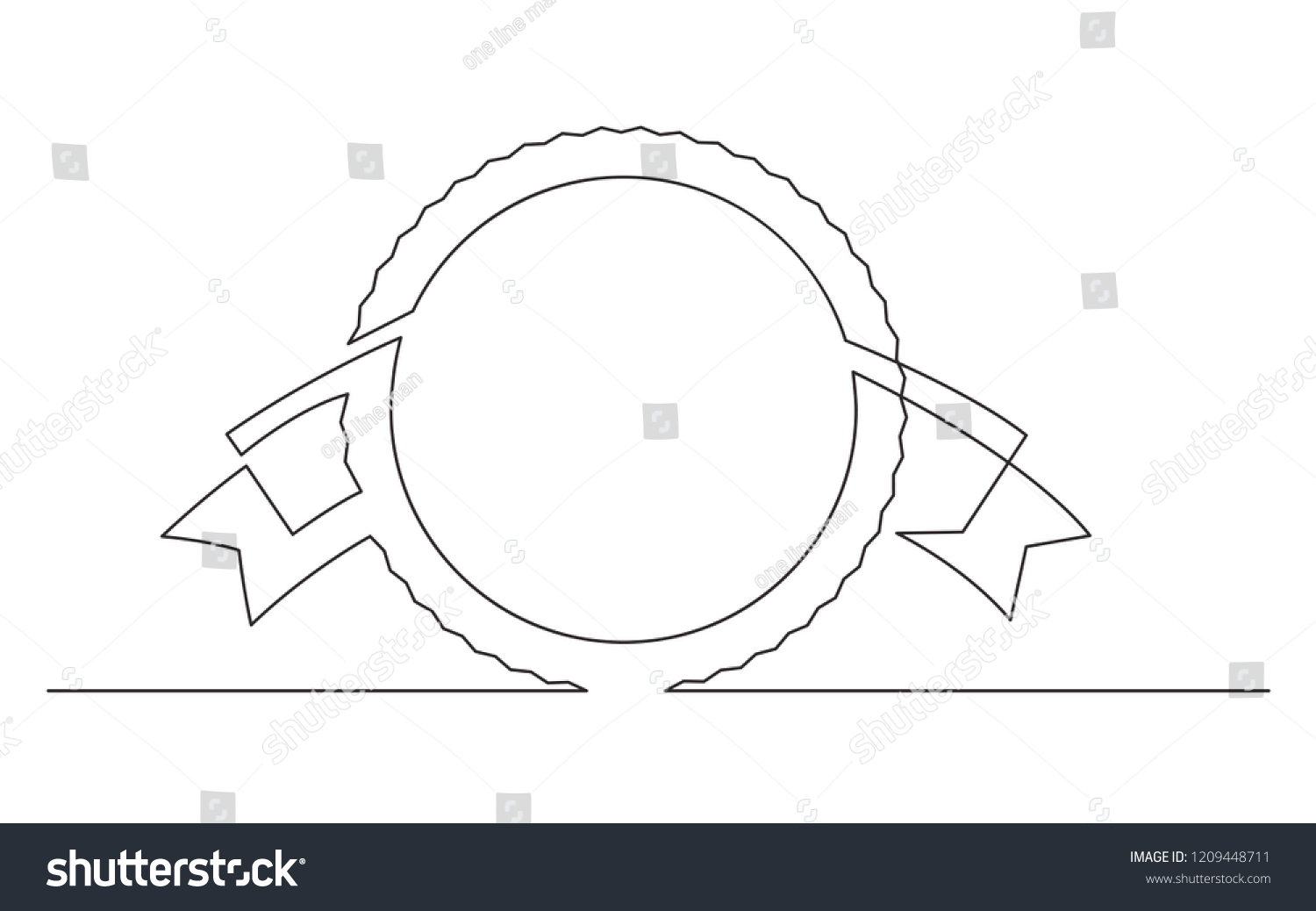 hight resolution of continuous line drawing of circle and ribbon label