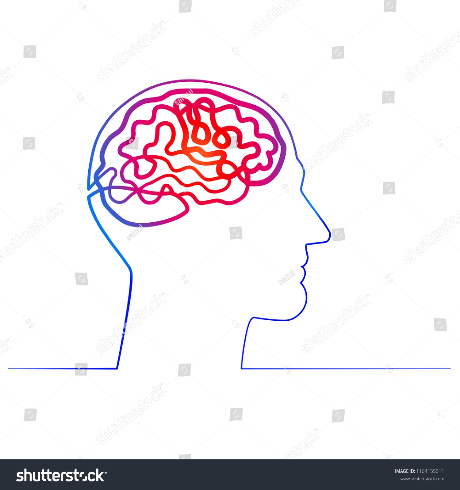 hight resolution of continuous one line drawing men head and brain inside the concept of thinking ideas inside
