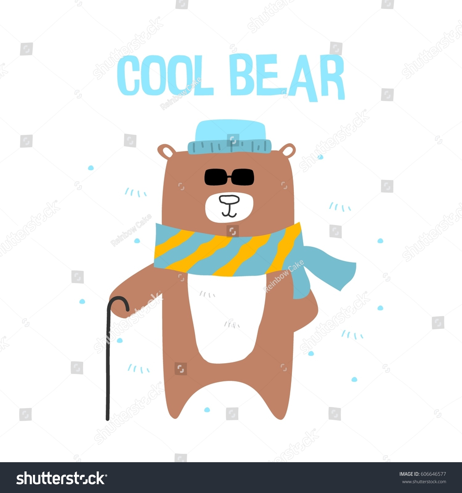 cool bear wearing sunglasses standing windy stock vector (royalty