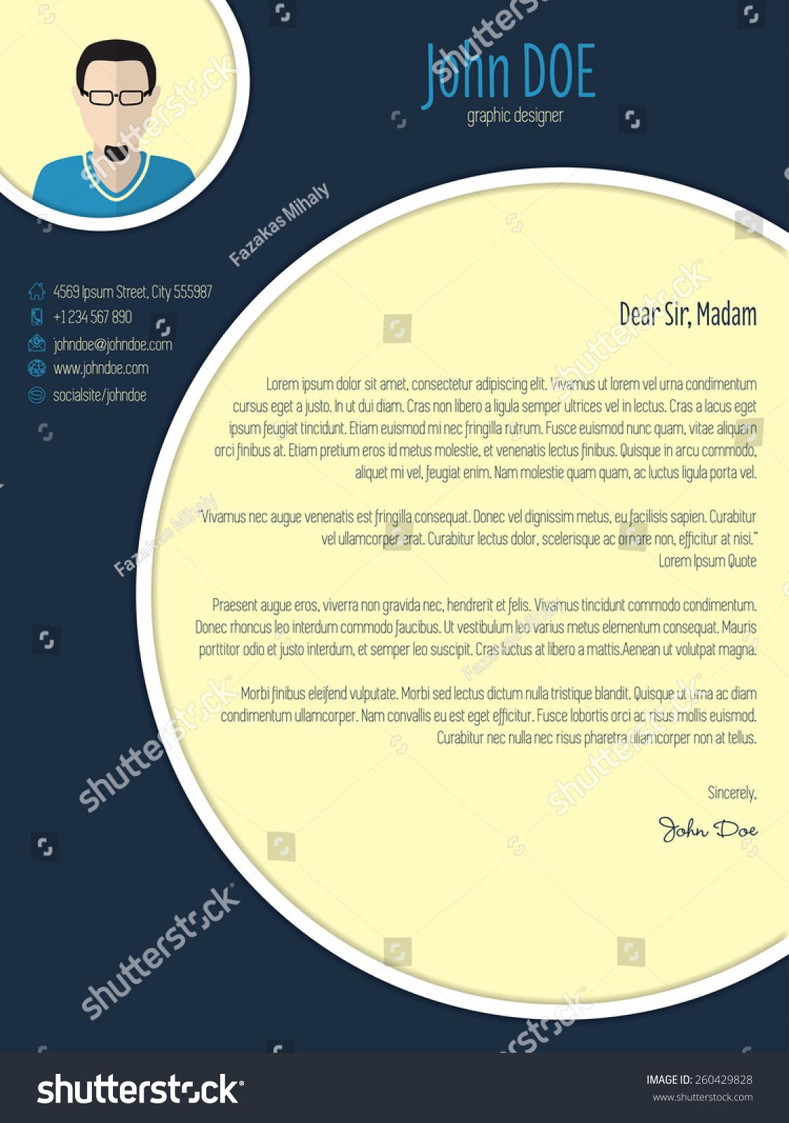 Cool New Modern Cover Letter Template Stock Vector 260429828  Shutterstock