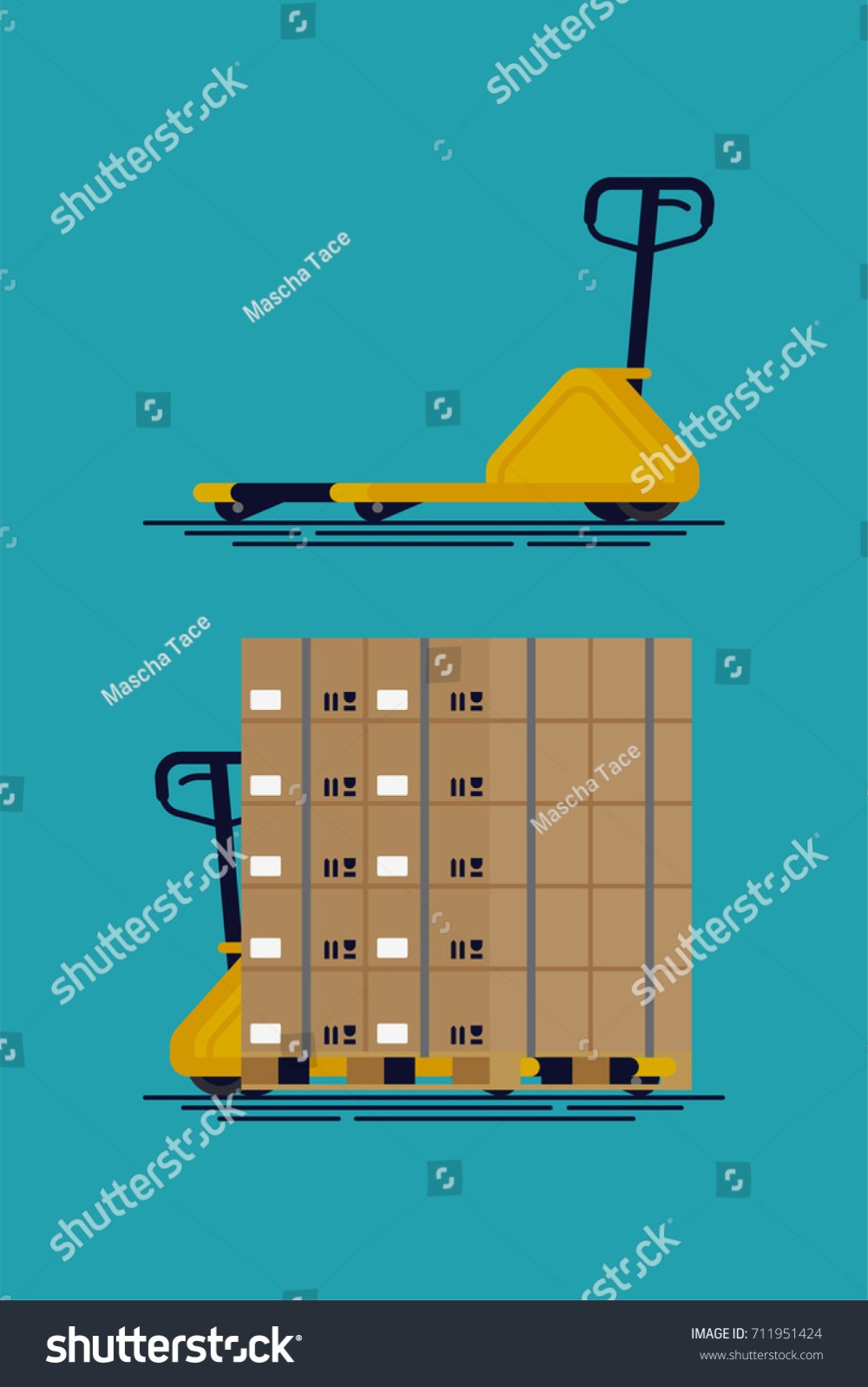 medium resolution of cool vector empty and loaded pallet jack shipment storage and logistics flat design element
