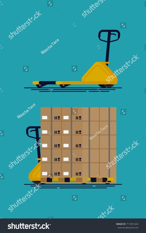 small resolution of cool vector empty and loaded pallet jack shipment storage and logistics flat design element