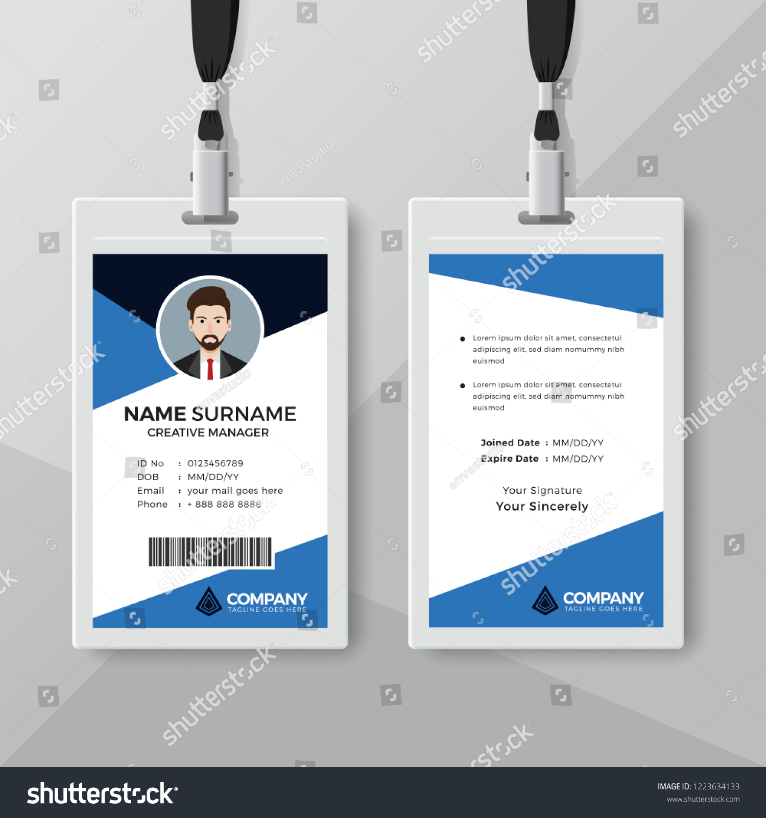 hight resolution of corporate id card template with blue details