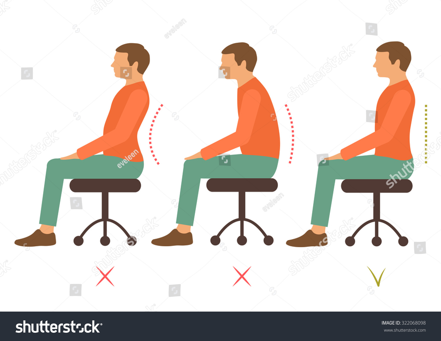 chair posture back pain crate and barrel dining correct spine bad sitting position 스톡 벡터 322068098