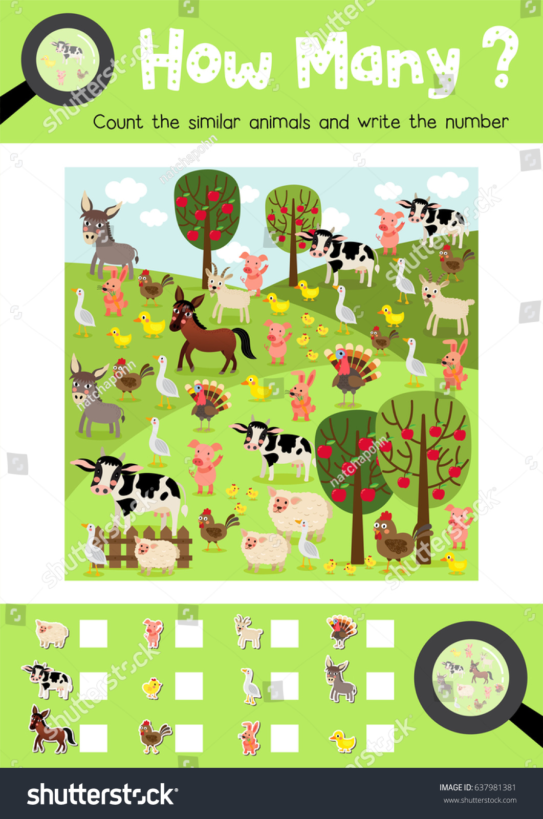 Farm Animals Matching Worksheet For Preschool