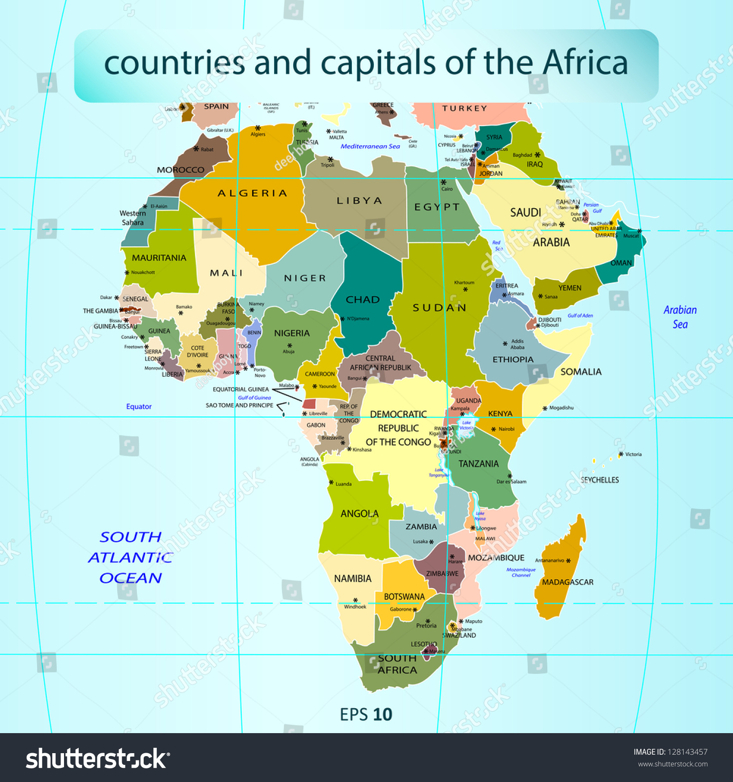 Countries Capitals Africa Stock Vector