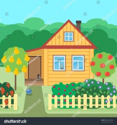 Country Village House Which Surrounded By Stock Vector Royalty Free 556400638