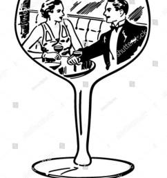 couple in wine glass retro clipart illustration [ 1200 x 1600 Pixel ]