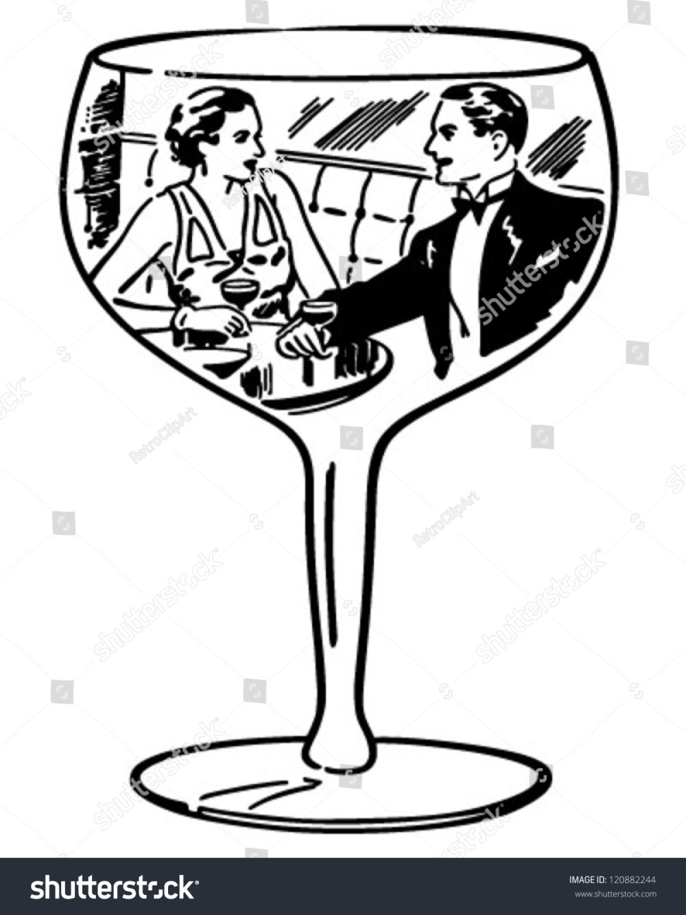 medium resolution of couple in wine glass retro clipart illustration