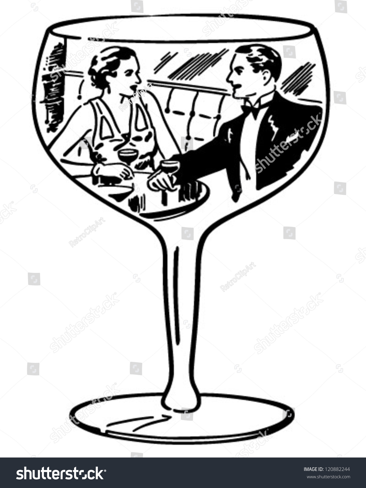 hight resolution of couple in wine glass retro clipart illustration