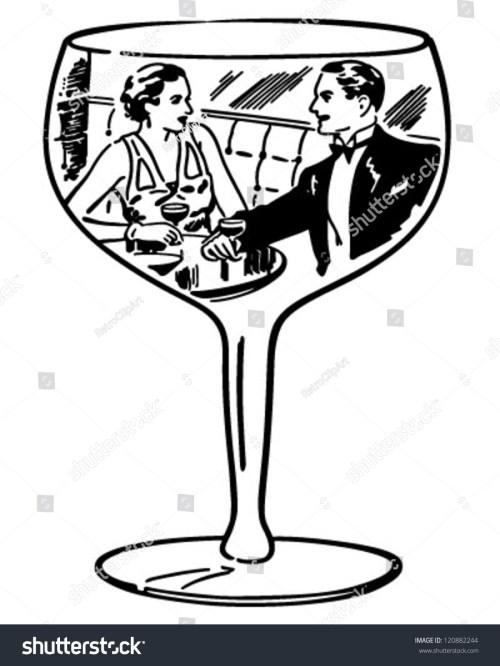 small resolution of couple in wine glass retro clipart illustration