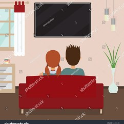 Tv Sofa Soft Sectional Couple Sitting On Watching Stock Vector Royalty Free And Show In Flat Screen Wall Cartoon Home