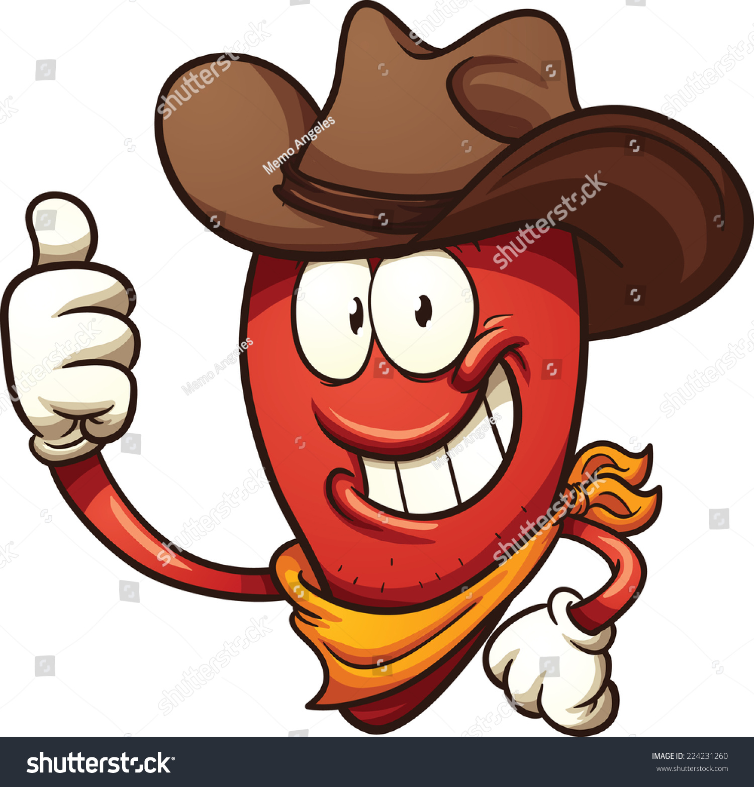 hight resolution of cowboy chili pepper vector clip art illustration with simple gradients all in a single layer