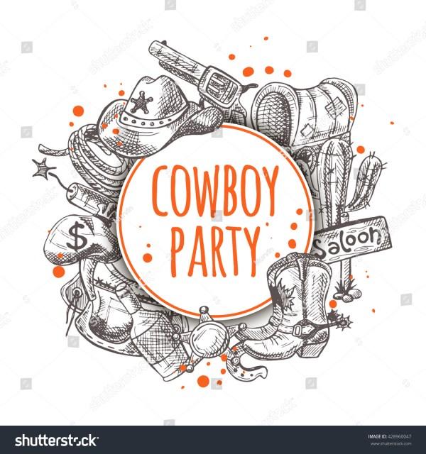 Cowboy Party Seamless Pattern Stuff Stock Vector 428960047 - Shutterstock