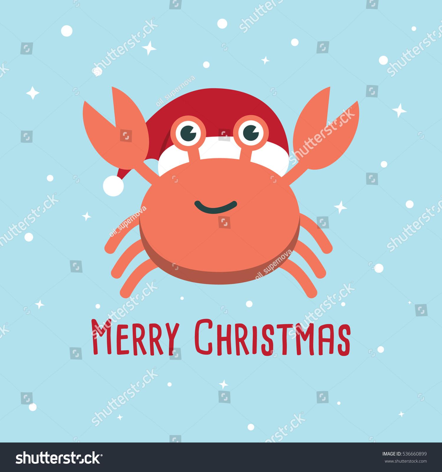 Crab Cartoon Character Cute Crab Wearing Stock Vector