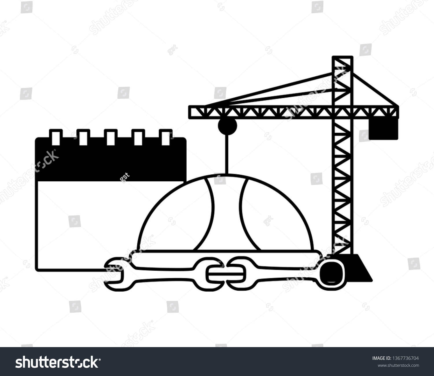 hight resolution of crane construction labour day
