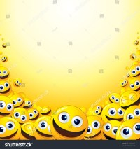 Crazy Background Heap Yellow Smileys Template Stock Vector