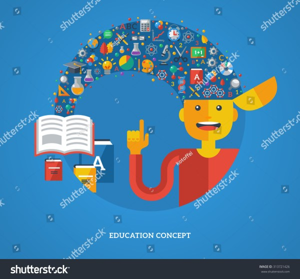 Creative Concept Education Vector Illustration Boy Stock