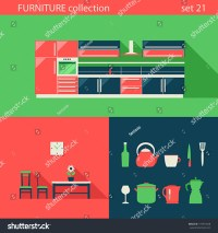 Creative Design Flat Furniture Vector Icons Set. Kitchen ...