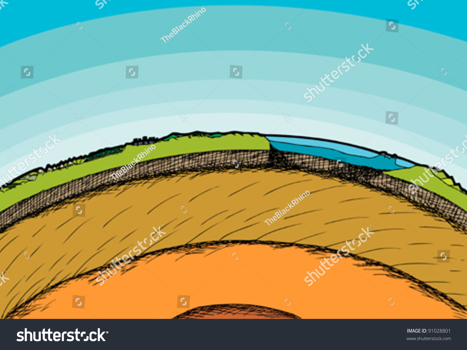 Crosssection Illustration Planet Earth Atmosphere Stock