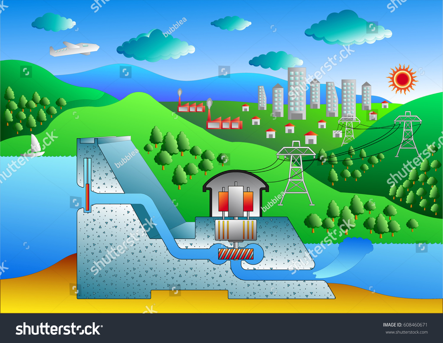 hight resolution of cross section of a conventional hydroelectric dam diagram vector art for graphic or website layout vector