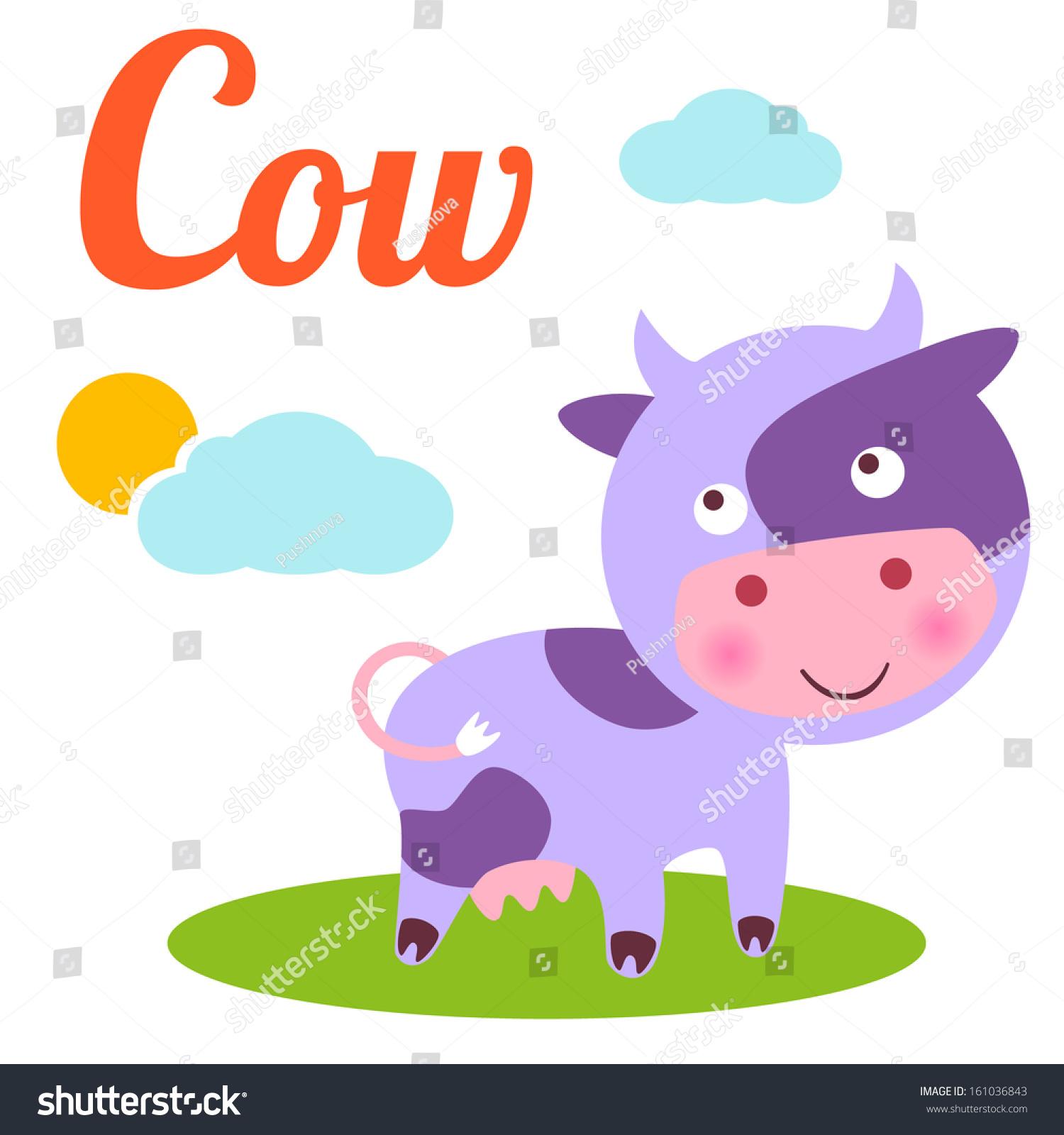 Cute Animal Alphabet C Letter Cute Cartoon Cow Alphabet