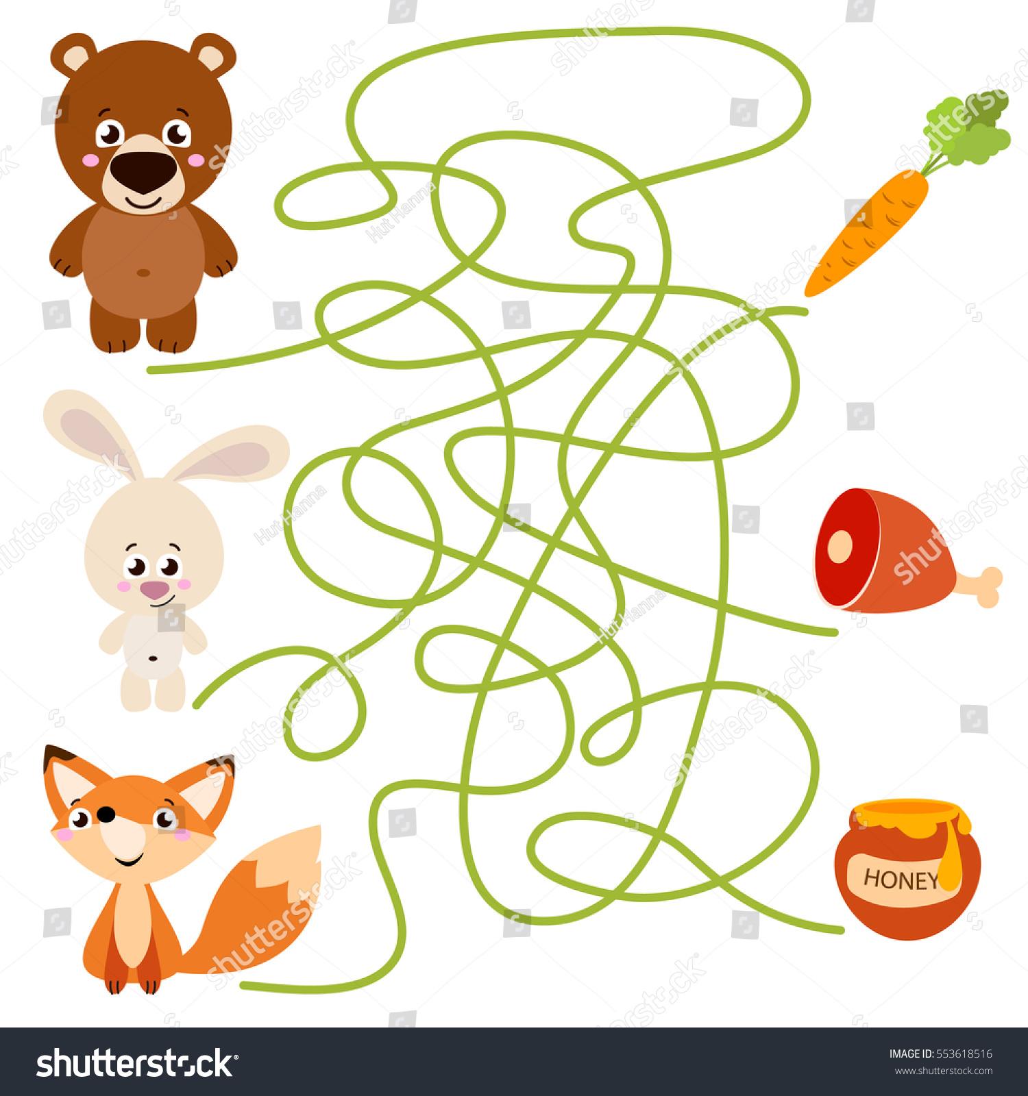 Cute Animal Educational Maze Game Vector Stock Vector