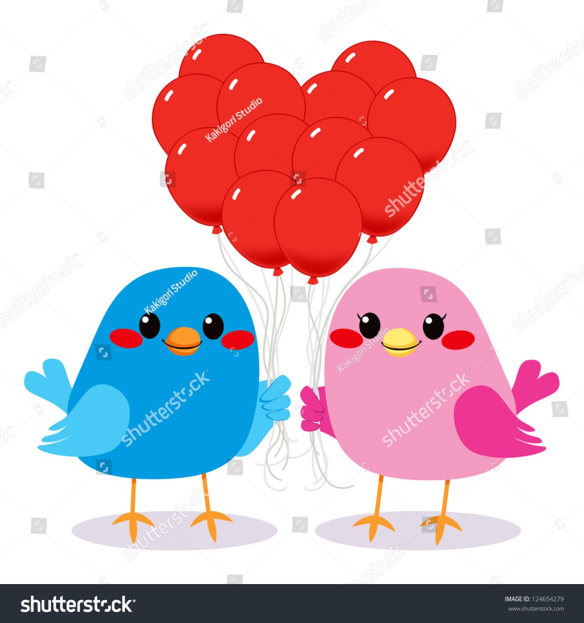 Download Cute Bird Couple In Love Holding Red Balloons Making A ...