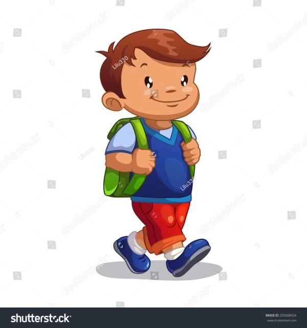 Cute Cartoon Boy School Isolated Stock Vector 205688926 - Shutterstock