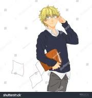 cute cartoon boy blond hair wearing