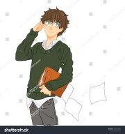 cute cartoon boy brown hair wearing