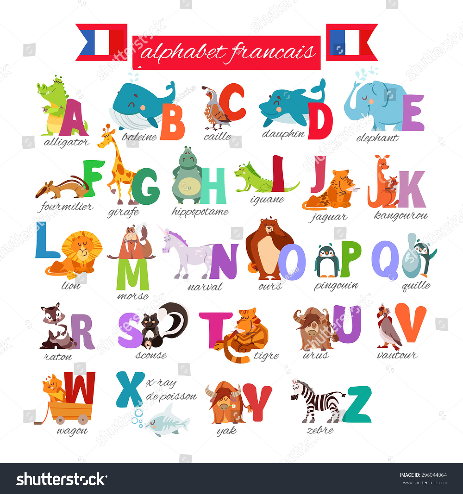 Cute Cartoon French Illustrated Alphabet Animals Stock