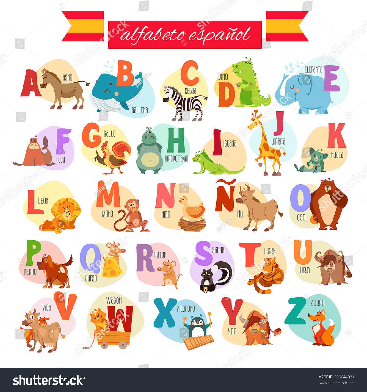 Cute Cartoon Spanish Illustrated Alphabet With Animals