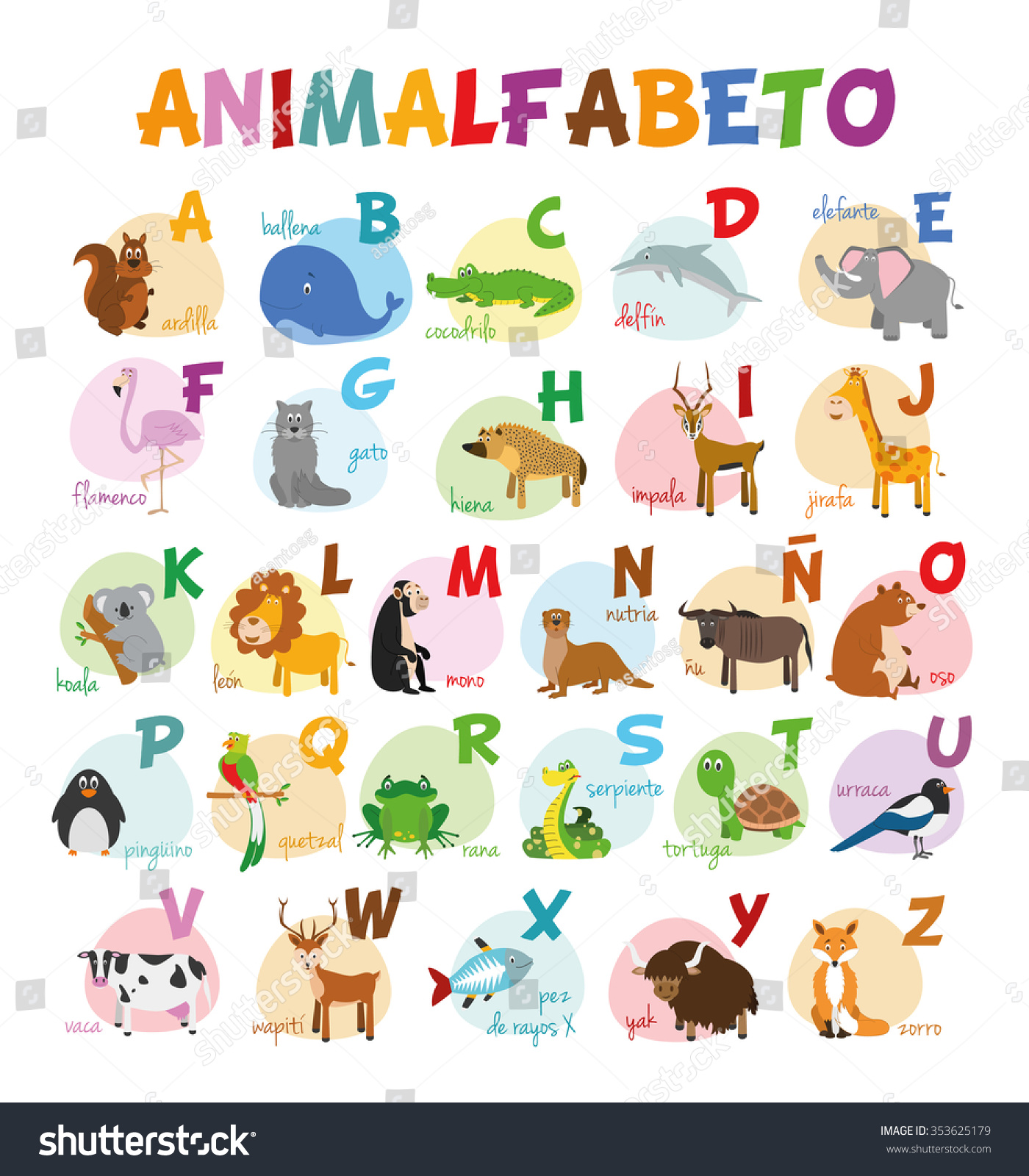 Cute Cartoon Zoo Illustrated Alphabet Funny Stock Vector