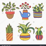 Cute Colorful Hand Drawn Doodles Plants Stock Vector Royalty Free 514412662