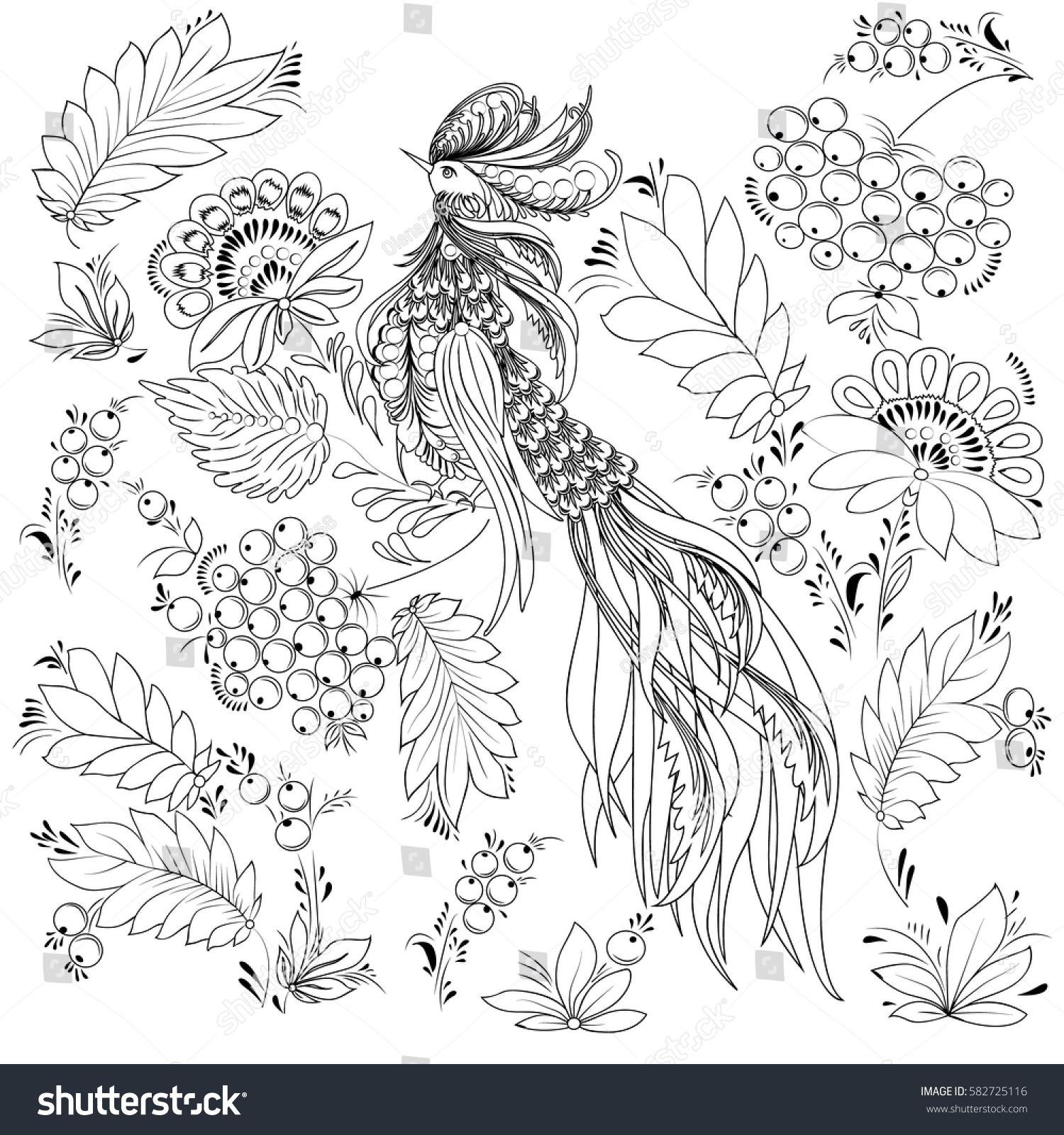 Cute Decorative Bird Vector Illustration Flowers Stock Vector