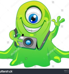 cute friendly green one eye slime alien monster cartoon character with photo camera cool for t shirts  [ 1500 x 1366 Pixel ]