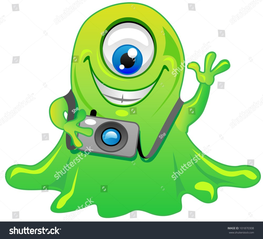 medium resolution of cute friendly green one eye slime alien monster cartoon character with photo camera cool for t shirts