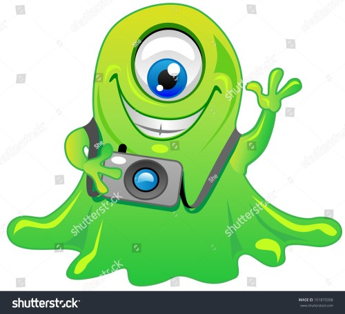 small resolution of cute friendly green one eye slime alien monster cartoon character with photo camera cool for t shirts